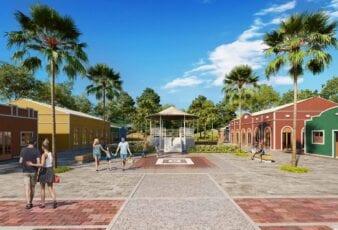 Perspectiva do Clube Temático com Praça Central do Fazendas Santa Fé.