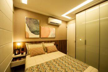 Perspectiva da suíte com closet do apartamento 2 quartos da coluna 1 do Versailles