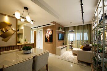 Perspectiva do living do apartamento 2 quartos da coluna 1 do Versailles