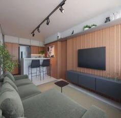 Perspectiva do living do apartamento de 01 suite da coluna 2 com decoração Life ONE do LIFE Imbuí.