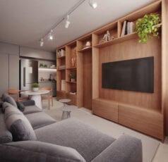 Perspectiva do living do apartamento de 01 suite da coluna 2 com decoração My Style do LIFE Imbuí.