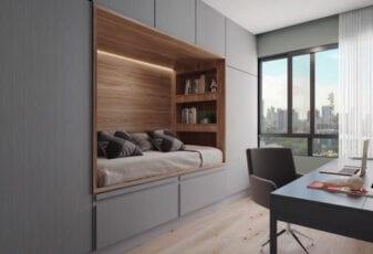 Perspectiva do quarto com home office de 02 suites com decoração Family Versatile do LIFE Imbuí.