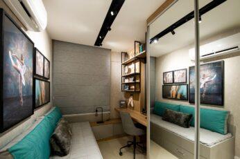 Perspectiva do quarto de solteiro do apartamento 2 quartos da coluna 1 do Versailles
