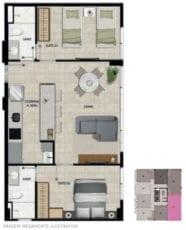 Planta baixa do apartamento 02 suítes do 101 ao 1701 com área privativa de 55,31 m².