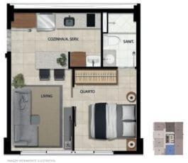 Planta baixa do apartamento 102 ao 1702 com área privativa de 29,60 m² com decoração Life ONE.