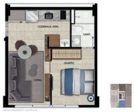 Planta baixa do apartamento 102 ao 1702 com área privativa de 29,60 m² com decoração My Style.
