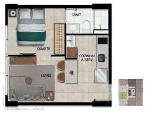 Planta baixa do apartamento 104 ao 1704 com área privativa de 27,98 m².