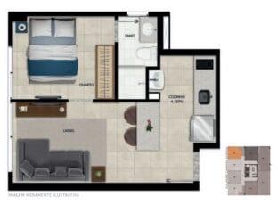 Planta baixa do apartamento 106 ao 1706 com área privativa de 29,09 m².