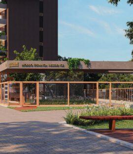 Perspectiva da guarita com vidro blindado e clausura do Morro Ipiranga Residence