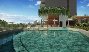 Perspectiva da piscina adulto e infantil do Morro Ipiranga Residence