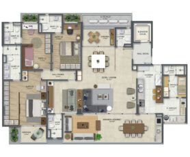 Planta baixa do apartamento tipo 1 de 210 m² com living ampliado e 3 Suítes