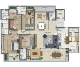 Planta baixa tipo 2 de 210 m² com 3 Suítes com gabinete