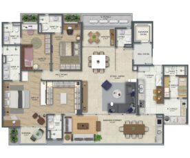 Planta baixa tipo 4 com 210 m² e 3 suítes com suíte master ampliada