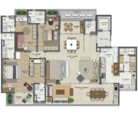 Planta baixa tipo 5 com 210 m² e 3 suítes com living e suíte master ampliados.