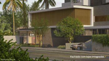 Perspectiva da fachada com lojas integradas do Residencial Ilha de Pharos