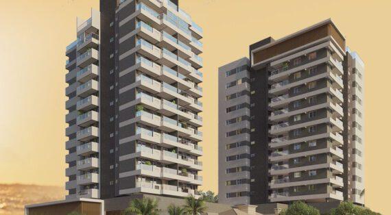 Perspectiva da fachada do Residencial Ilha de Pharos.