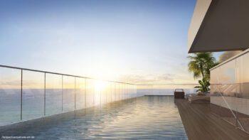 Perspectiva da piscina no rooftop do Residencial Ilha de Pharos