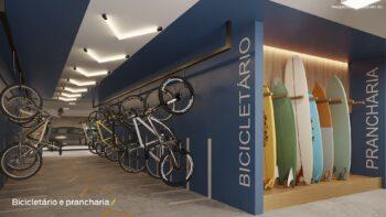 Perspectiva do bicicletário e prancharia do Residencial Ilha de Pharos
