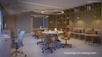 Perspectiva do coworking com meeting room do Residencial Ilha de Pharos