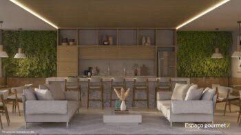 Perspectiva do espaço gourmet do Residencial Ilha de Pharos