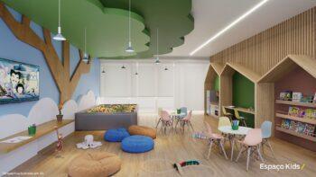 Perspectiva do espaço kids do Residencial Ilha de Pharos