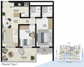 Planta baixa 2 quartos com suíte em 65m² da Torre Solis.