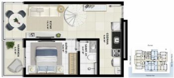 Planta baixa do pavimento inferior da cobertura 2 quartos com suíte em 87m² da Torre Luna.
