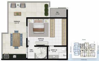 Planta baixa do pavimento superior da cobertura 3 quartos com suíte em 128m² da Torre Luna.